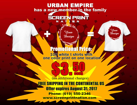 Screen Print Nation T Shirt Promotional